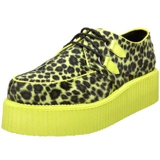 Demonia Mens Creeper Cheetah Fur Fashion Sneakers - 4 medium (d)