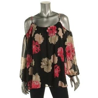 Calvin Klein Womens Blouse Chiffon Floral Print