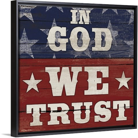 """In God We Trust"" Black Float Frame Canvas Art"
