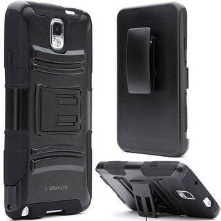Samsung Galaxy Note III, i-Blason, Prime Series Dual Layer Holster Case with Kickstand-Black