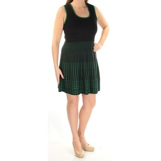 Womens Black Sleeveless Above The Knee Fit + Flare Wear To Work Dress Size: XS