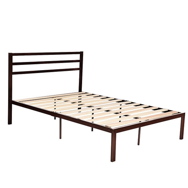 Full Size Steel Bed Frame with Stable Platform and Wooden Slats-Chocolate