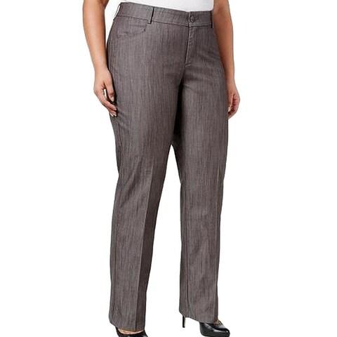 Lee Dark Gray Womens Size 18W Plus Wide-Leg Dress Pants Stretch