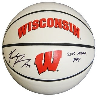 Frank Kaminsky Signed Wisconsin Badgers GameMaster White Logo Basketball w/2015 NCAA POY
