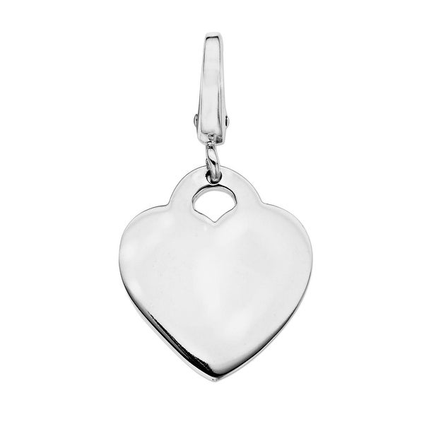 Heart Charm in Sterling Silver - White