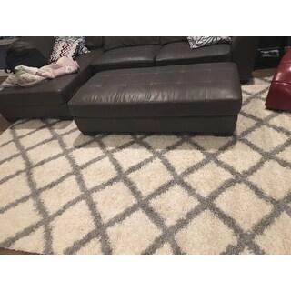 Shag Ivory/ Grey Trellis Rug - 8' x 10' - 8' x 10'