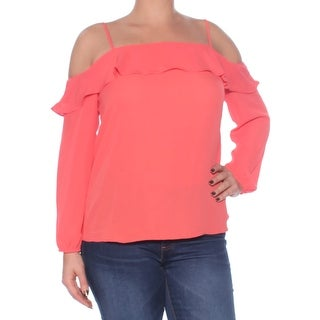 Womens Coral Long Sleeve Square Neck Top Size 79