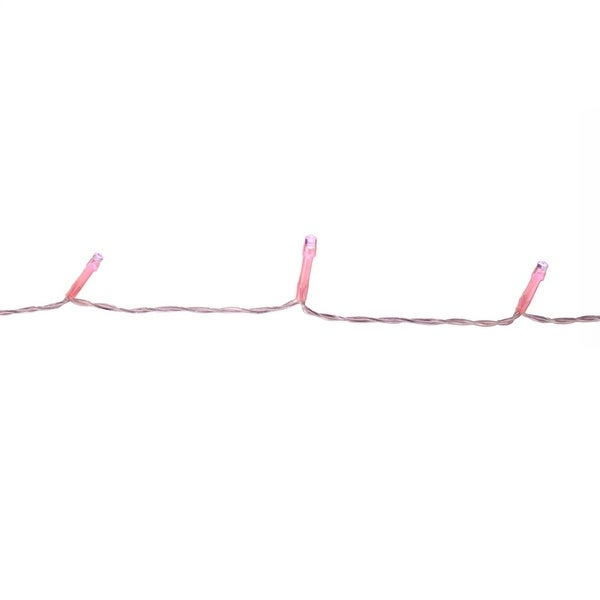 Set of 20 Battery Operated Pink LED Wide Angle Christmas Lights - Pink Wire