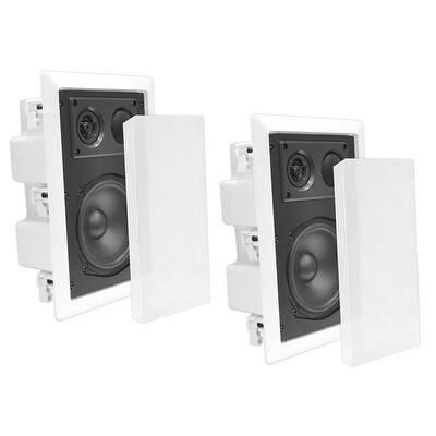 In-Wall / In-Ceiling Dual 8'' Enclosed Speaker System, 2-Way, Flush Mount, White