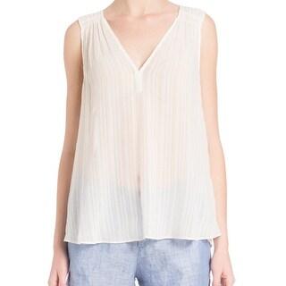 Joie NEW White Women's Size XS Tank Silk V-Neck Crinkle Sheer Blouse