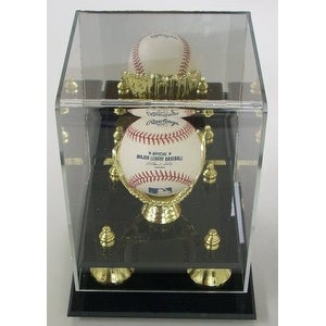 Baseball 1Ball Large Deluxe Acrylic Gold Glove Display Case Mirror back  Gold risers - Black - 5' x 8'