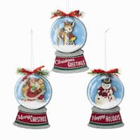 "Pack of 6 Retro Style Santa, Snowman, Deer Christmas Ornaments 5.25"" - WHITE"