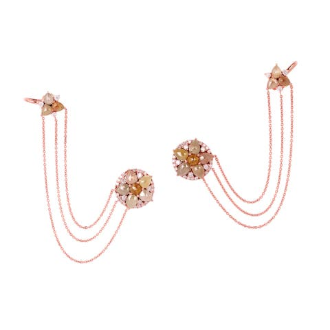 New Arrival !! 18kt Solid Rose Gold Diamond Cuff Earrings Fashion Jewelry