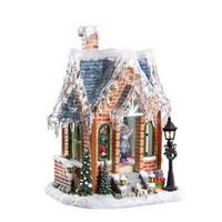 "Pack of 2 Icy Crystal Animated Musical Gingerbread House Figurines 11.5"" - brown"