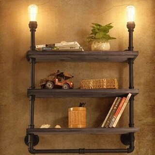 2 light , 3 layer bookshelf vintage industrial pipe wall sconce - Rust