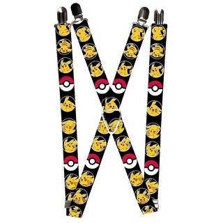 Pokemon Pikachu Suspenders - Black