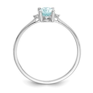 Link to 10K White Gold Polished Genuine Diamond and Aquamarine Birthstone Ring by Versil Similar Items in Rings