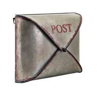 "14"" Metallic Gray and Galvanized Finish Decorative Mail Organizer"
