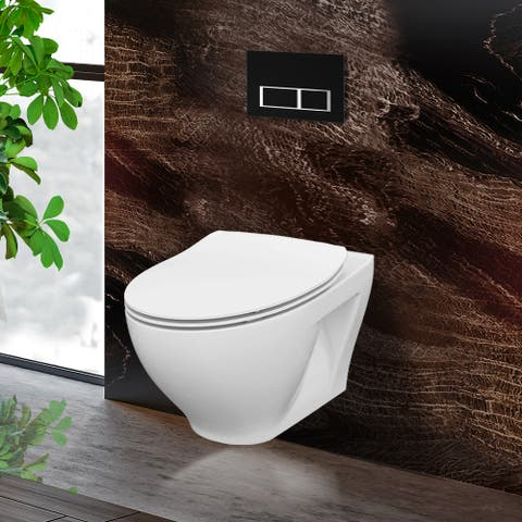 "Toilet Combo Set - 20"" Toilet Bowl With Soft-Close Seat, 2""x 4"" Concealed Tank And Carrier System, Push Buttons Included."
