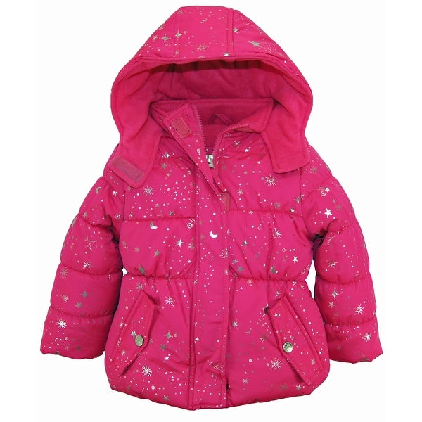 06ed52193 Pink Platinum Toddler Girl Puffer Coat with Silver Starts Print Winter  Jacket