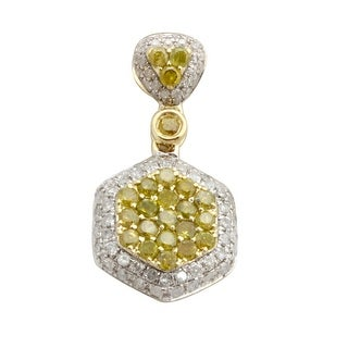 Brand New 0.98 Carat Round Brilliant Cut Real Color Diamond With Diamond Cluster Pendant