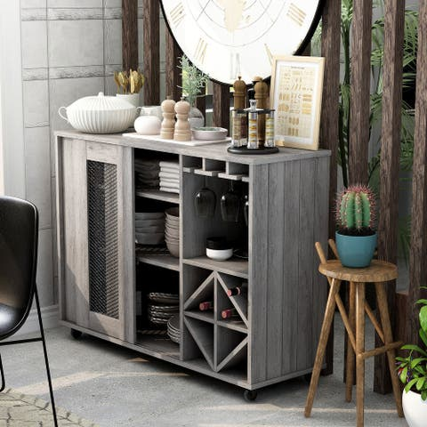 Avilius Rustic Grey Oak Finish Multi-storage Buffet