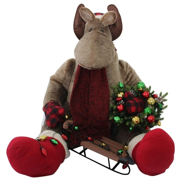 "34"" Red and Tan Christmas Sitting Moose Inflatable"