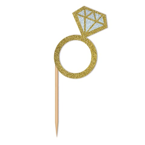 Set of 288 Blue and Gold Colored Diamond Ring Cupcake Toppers - N/A