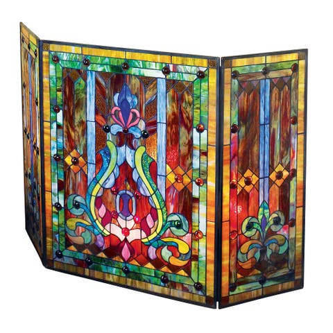"""River of Goods Tiffany Style Stained Glass Fleur de Lis Fireplace Screen, 44""""W x 28""""H - Multi"""