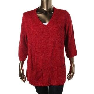 Karen Scott Womens Plus Marled V Neck Tunic Sweater - 2X