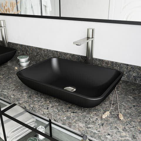 VIGO Black Sottile MatteShell Vessel Bathroom Sink and Gotham Faucet in Brushed Nickel