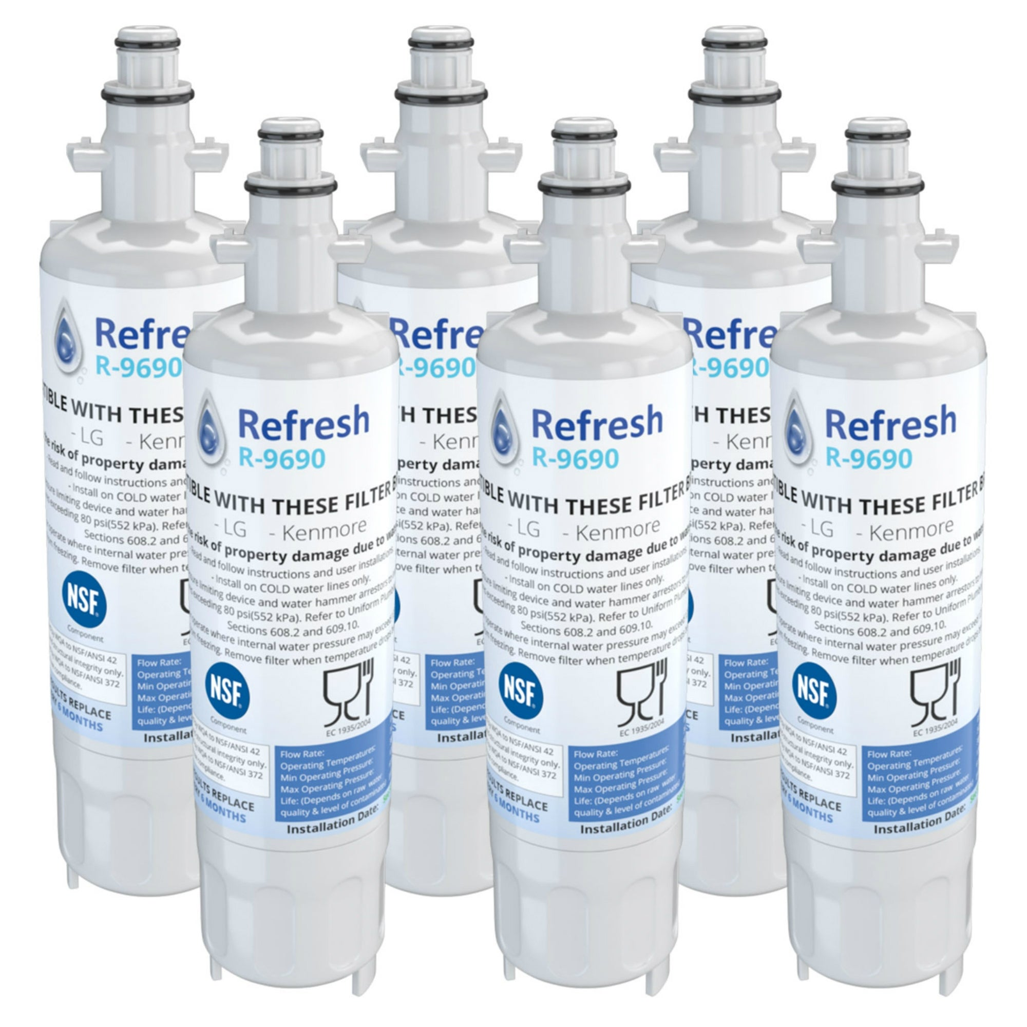 4 Pack Refresh Replacement Water Filter Fits Kenmore 74025 Refrigerators