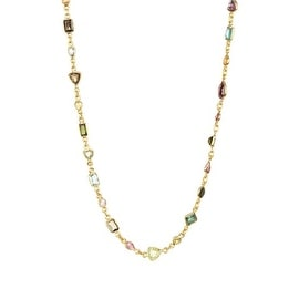Gold Plated Sterling Silver Assorted Tourmaline Station Necklace