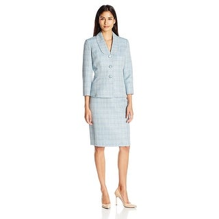 Le Suit Shawl Collar Cross Dyed Long Sleeve Jacket Skirt Suit - 18