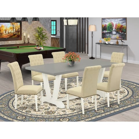 Modern Cement Finish Dining Table and Linen Fabric Light Beige Finish Parson Chairs with Nail Heads (Chairs and Bench Option)