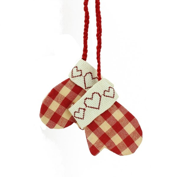 "3.5"" Cream White and Red Gingham Embroidered Heart Mittens Christmas Ornament"