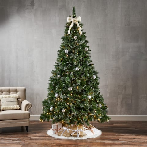 9-ft. Pre-lit Faux Hinged Glitter Spruce Christmas Tree