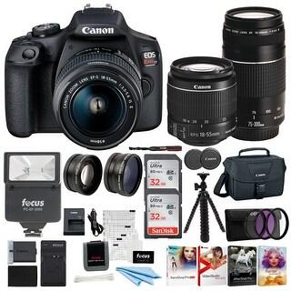Canon EOS Rebel T7 DSLR Camera 18-55 & 75-300 Double Zoom Lens Bundle