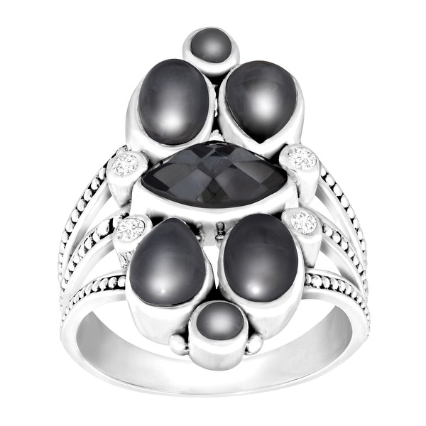 Sajen Hematite Doublet Ring with White Topaz in Sterling Silver - Black