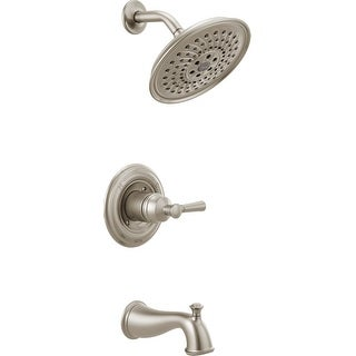 Delta 144777  Mylan Tub and Shower Trim Package with Multi Function Shower Head with H2Okinetic Technology, Valve Included