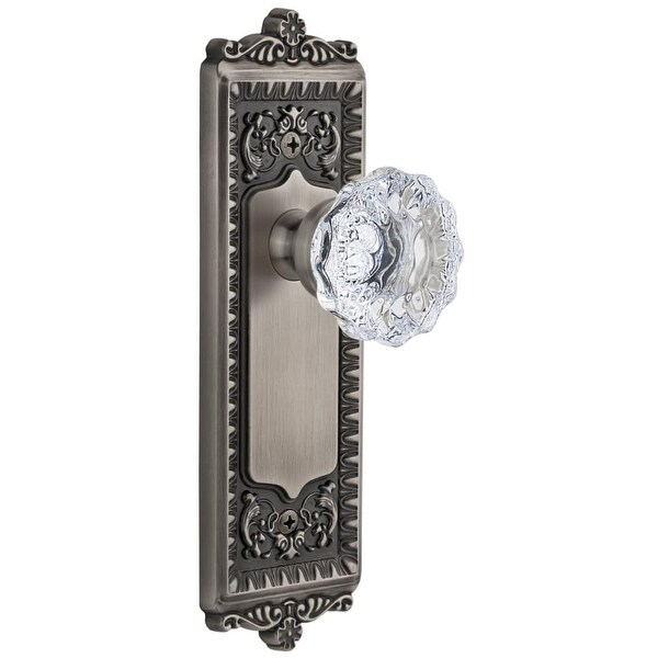 "Grandeur WINFON_PSG_238 Windsor Solid Brass Rose Passage Door Knob Set with Fontainebleau Crystal Knob and 2-3/8"" Backset"