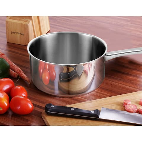 Bene Casa 2-Quart, stainless-steel sauce pan, tempered glass lid, easy clean sauce pan, dishwasher safe