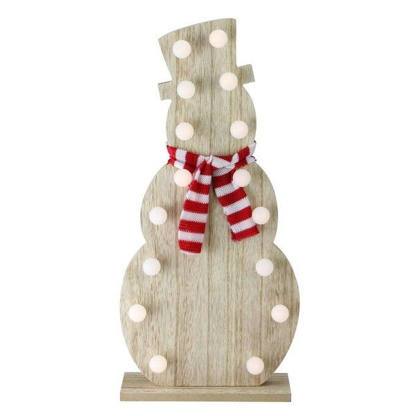 """15.75"""" Battery Operated Decorative Wooden LED Lighted Snowman Tabletop Decoration"""