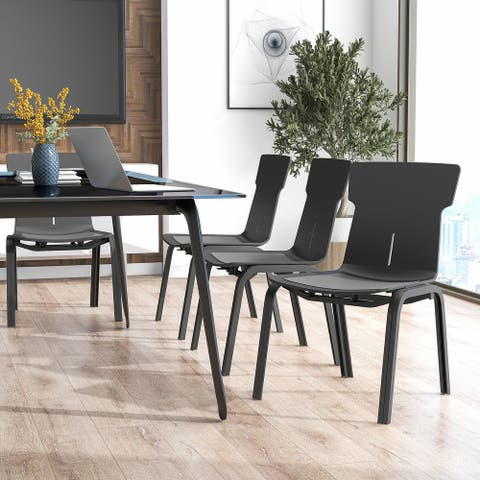 Furniture of America Mercer Black Stackable Office Chairs (Set of 4)