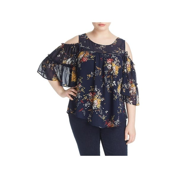 Lucky Brand Womens Plus Pullover Top Cold Shoulder Floral