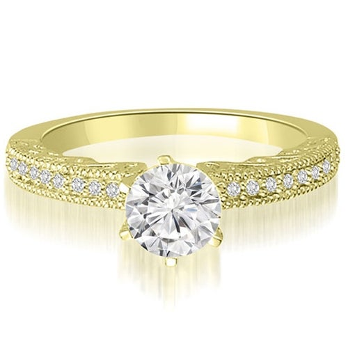 0.70 cttw. 14K Yellow Gold Antique Milgrain Round Diamond Engagement Ring