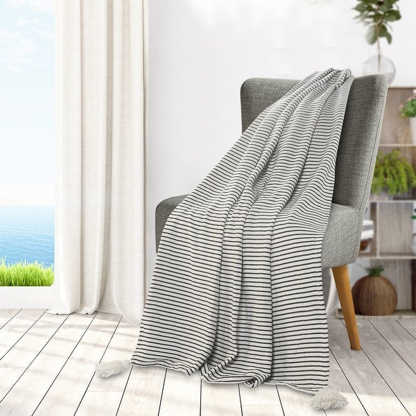 Black and Ivory Striped Tasseled Throw Blanket. Opens flyout.