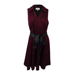 Signature by Robbie Bee Women's Petite Lace Fit & Flare Dress - Wine/Black