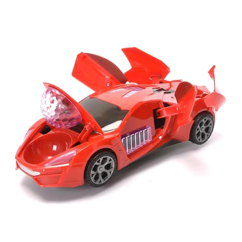 WonderPlay SDR Super Racing Car BO Car with Lights & Music It Rotates 360° Degrees + Red