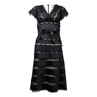 JS Collections Women's Belted Satin Tier Lace A-Line Dress - Black